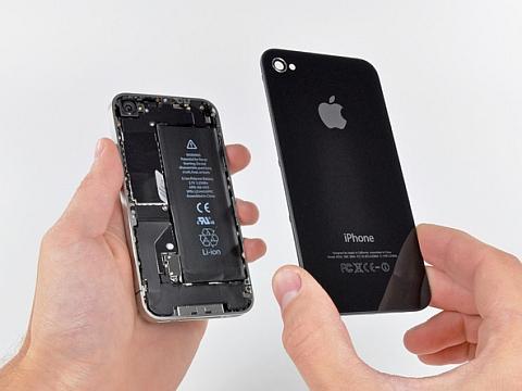 Снимаем заднюю стеклянную крышку iPhone 4